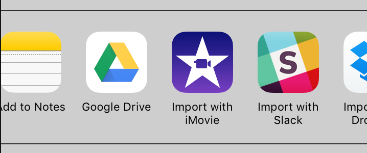 ios sharing options including imovie